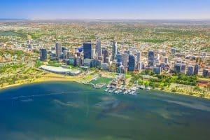 Aerial view of Perth Skyline in Australia